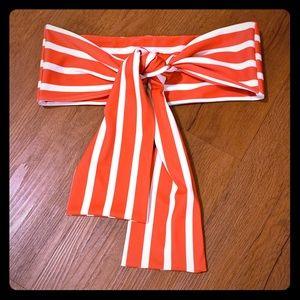 Striped Bandeau Bikini, XS